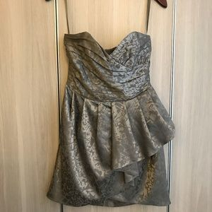 Gold strapless sweetheart mini dress w ruffles